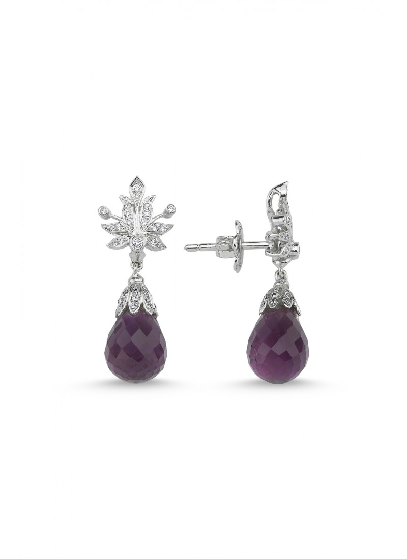 Amethyst Earrings - White Gold