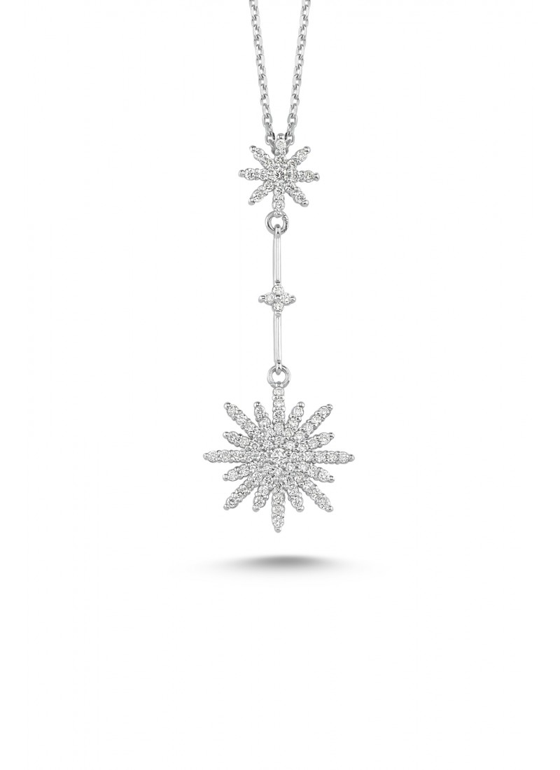 Snowflake Necklace - White Gold