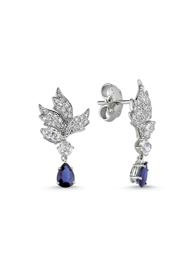 Sapphire Earrings with Sapphire - White Gold