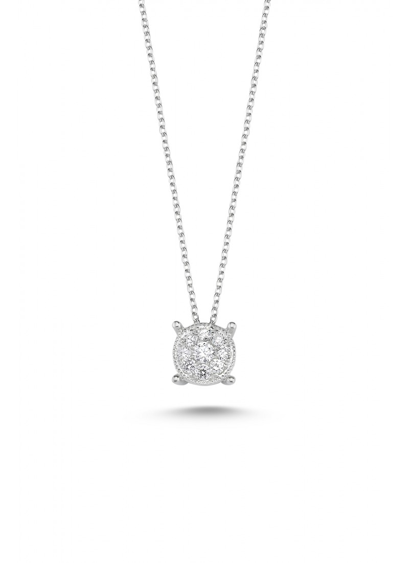 9 Stone Necklace - White Gold