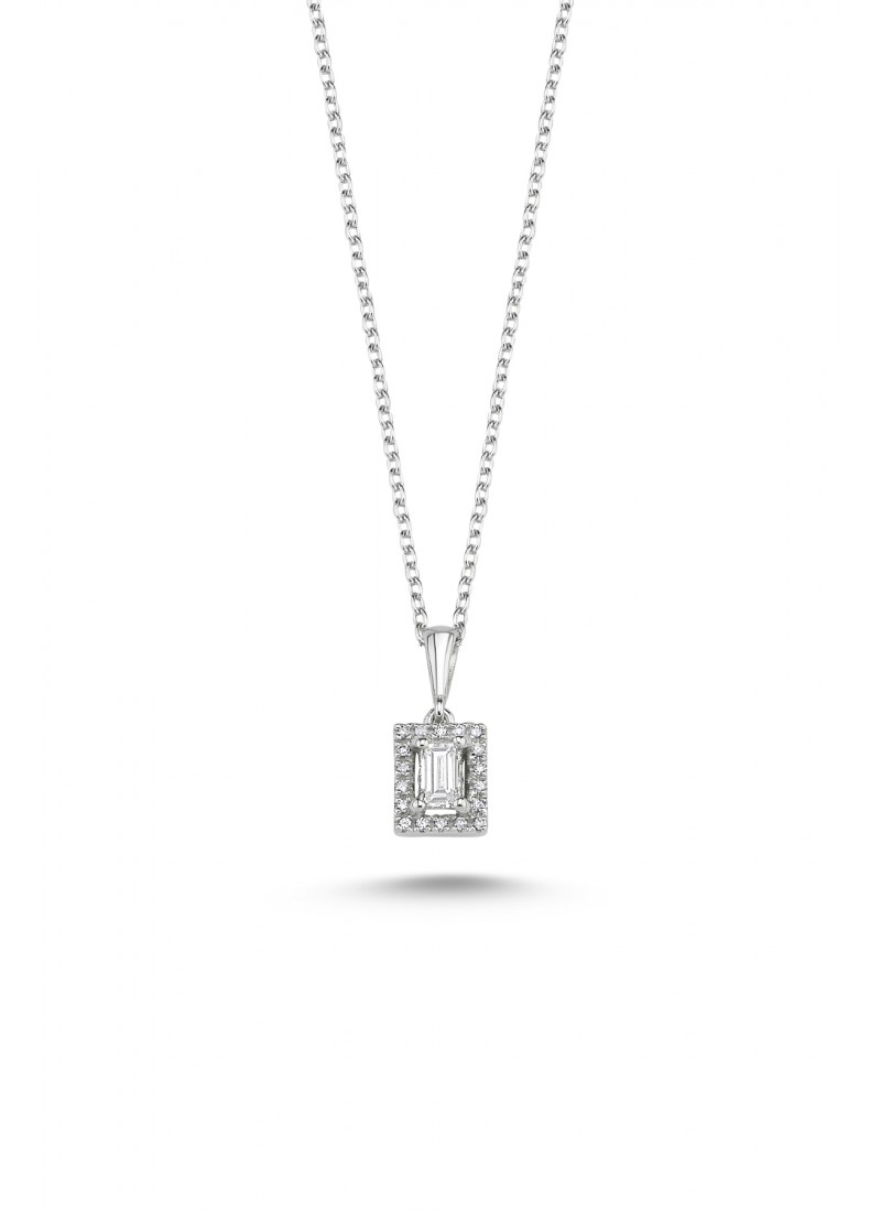 Baguette Necklace - White Gold