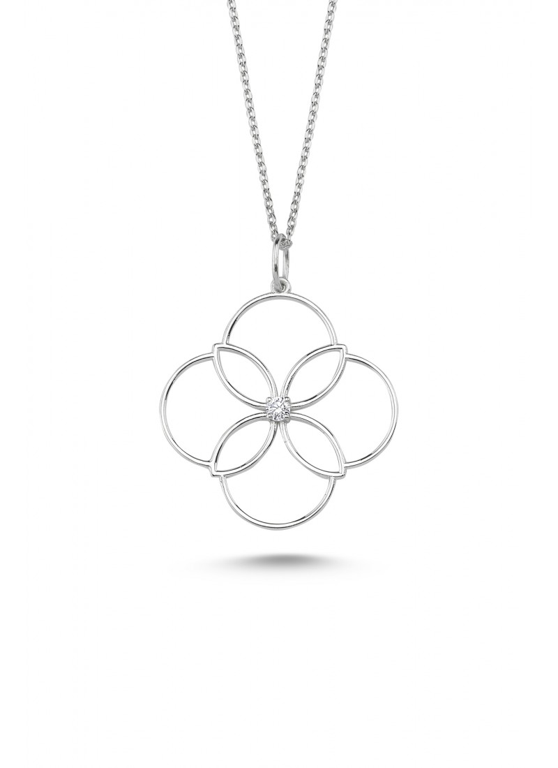Clover Necklace - White Gold