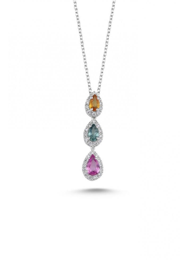 Three Colors Necklace - White Gold