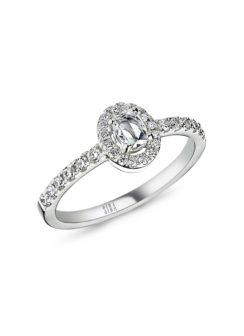 Diamond Drop Oval Ring - White Gold