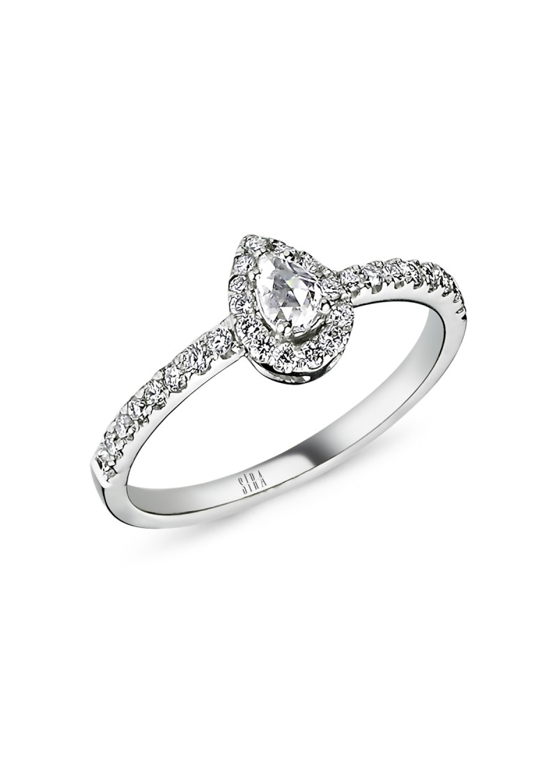 Drop Diamond Ring - White Gold