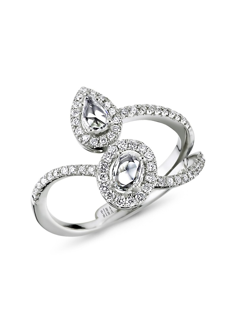 Diamond Oval Drop Ring - White Gold