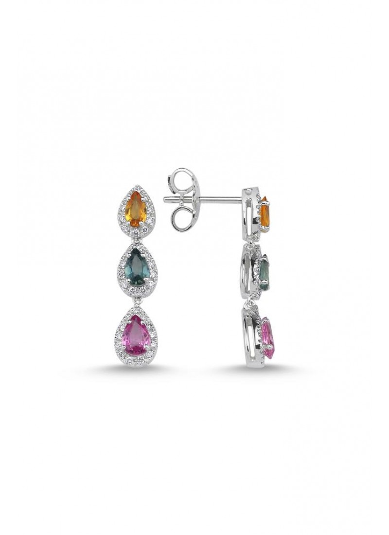 Three Colors Earrings - White Gold