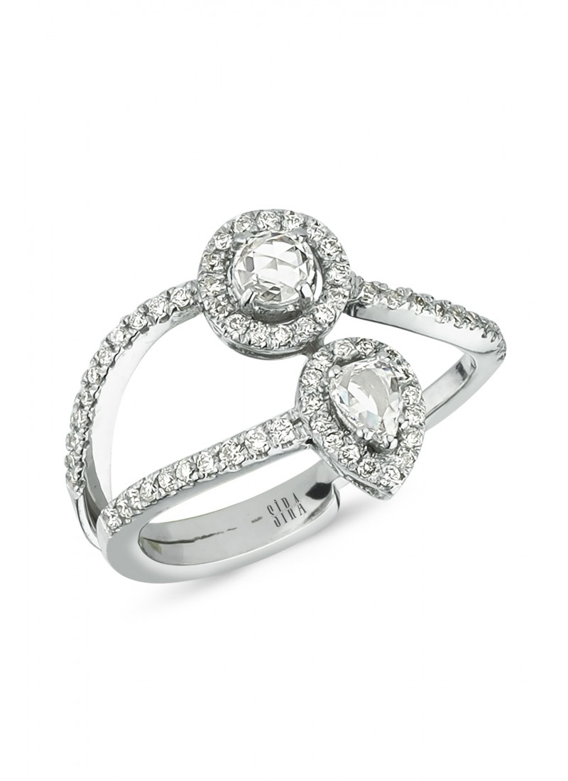 Double Diamond Ring - White Gold