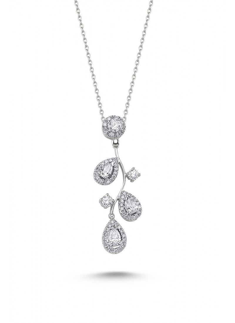 3-Drop Drop Necklace - White Gold