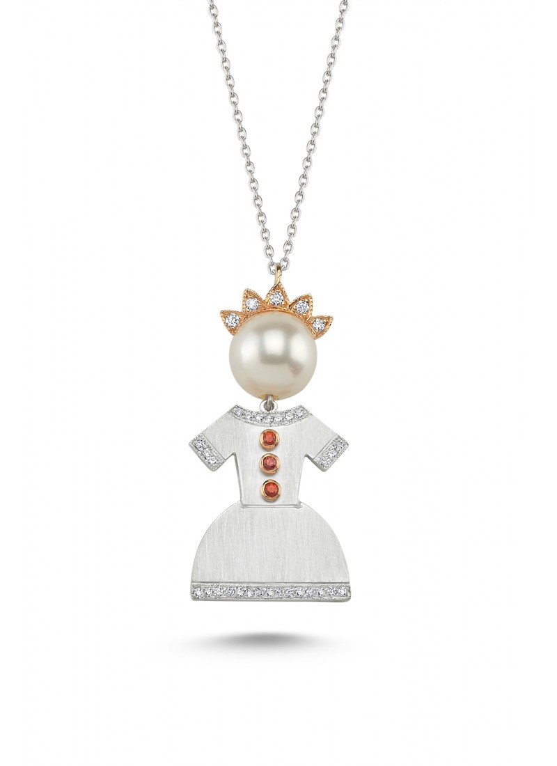 Crowned Baby Necklace - White Gold