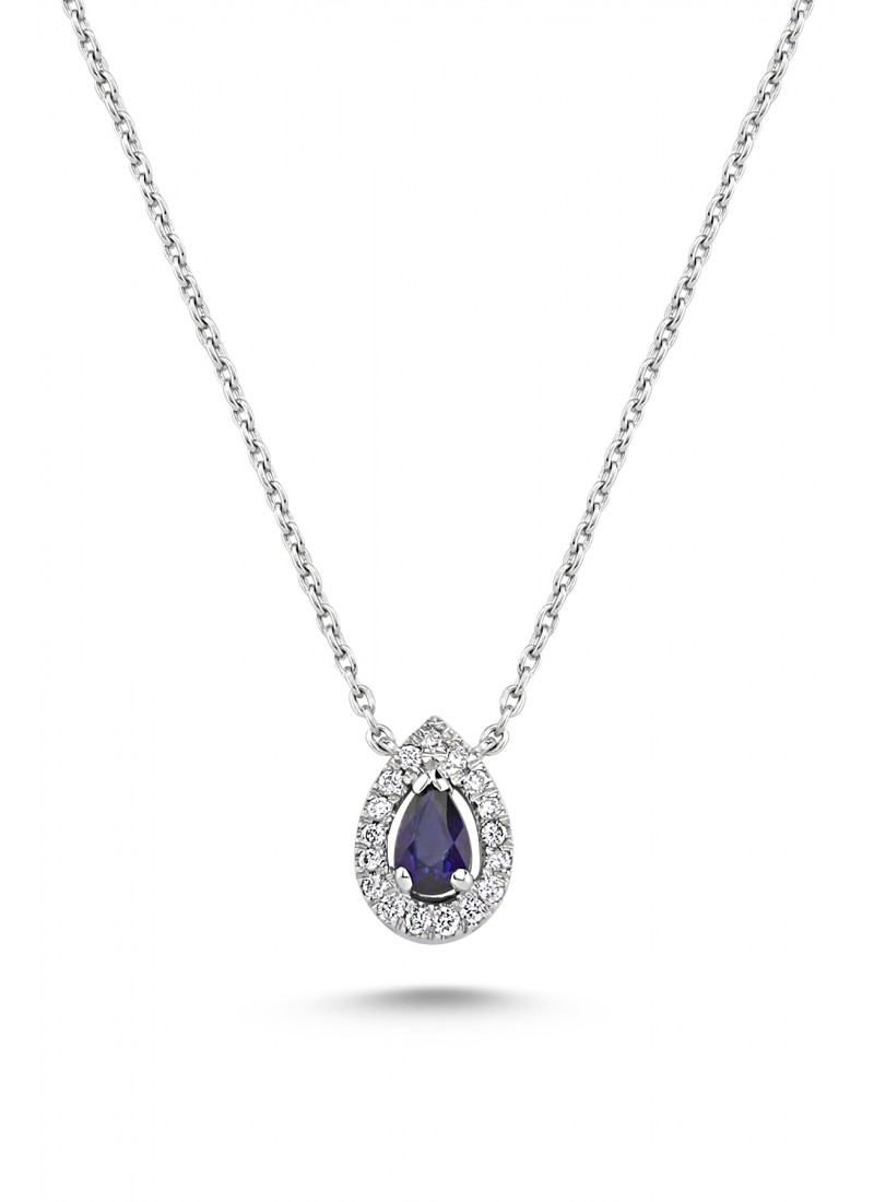 Sapphire Drop Necklace - White Gold