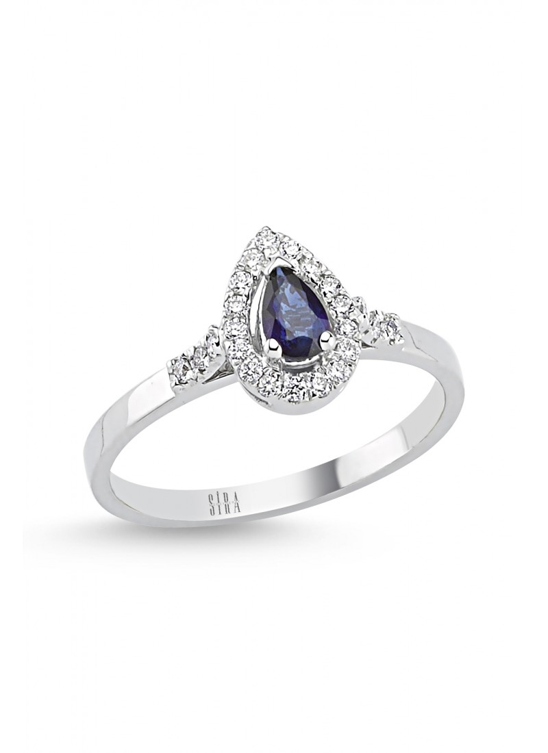 Sapphire Drop Ring - White Gold