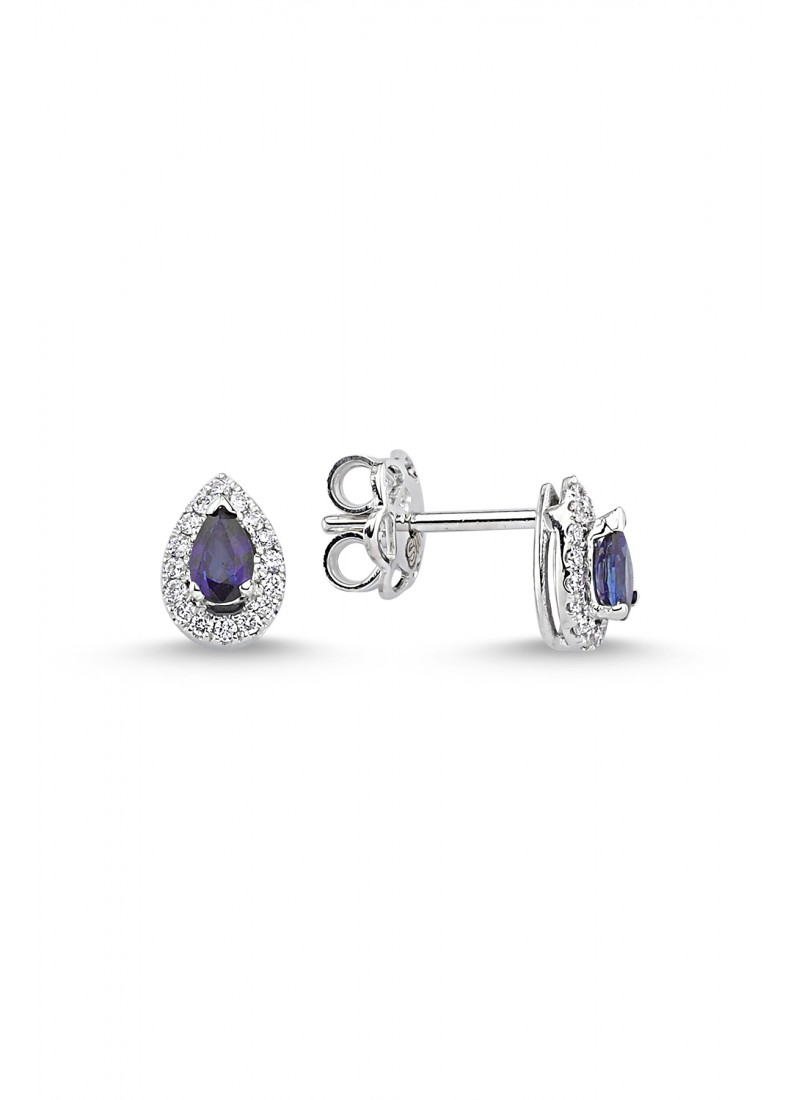 Sapphire Drop Earrings - White Gold