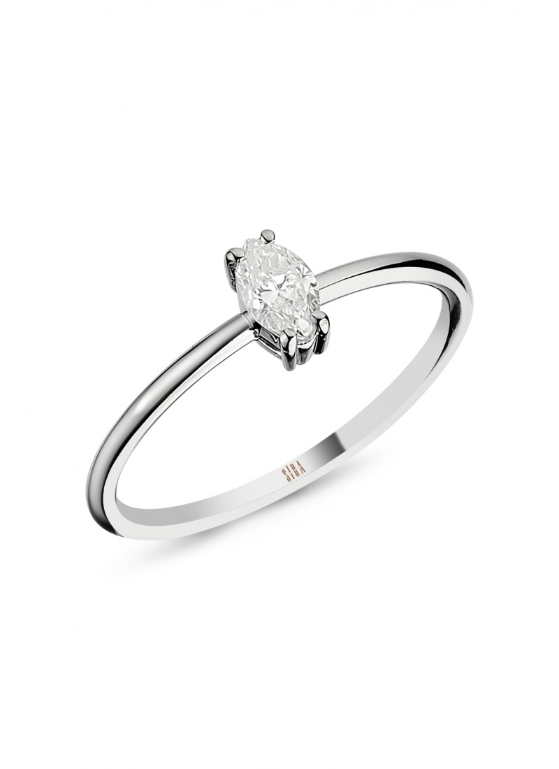 Marquise Engagement Ring - White Gold