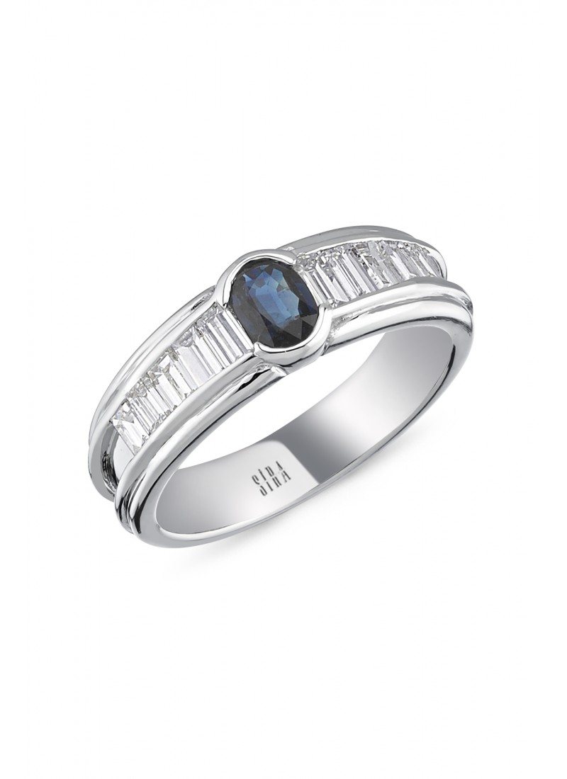 Sapphire Baguette Ring - White Gold