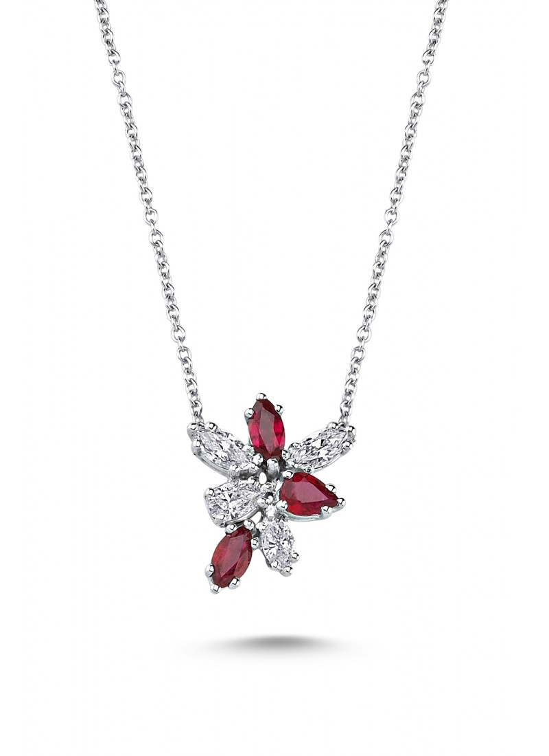 Water Drop Ruby Necklace - White Gold