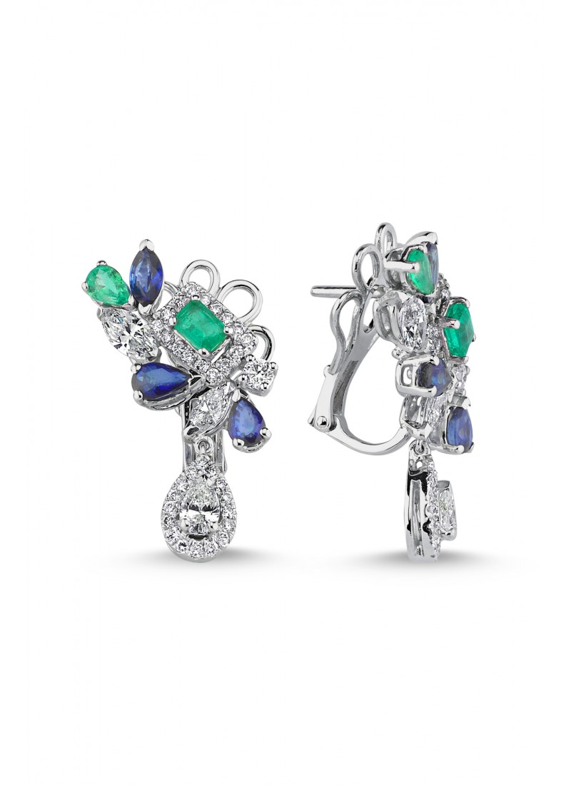 Emerald - Sapphire Diamond Earrings - White Gold