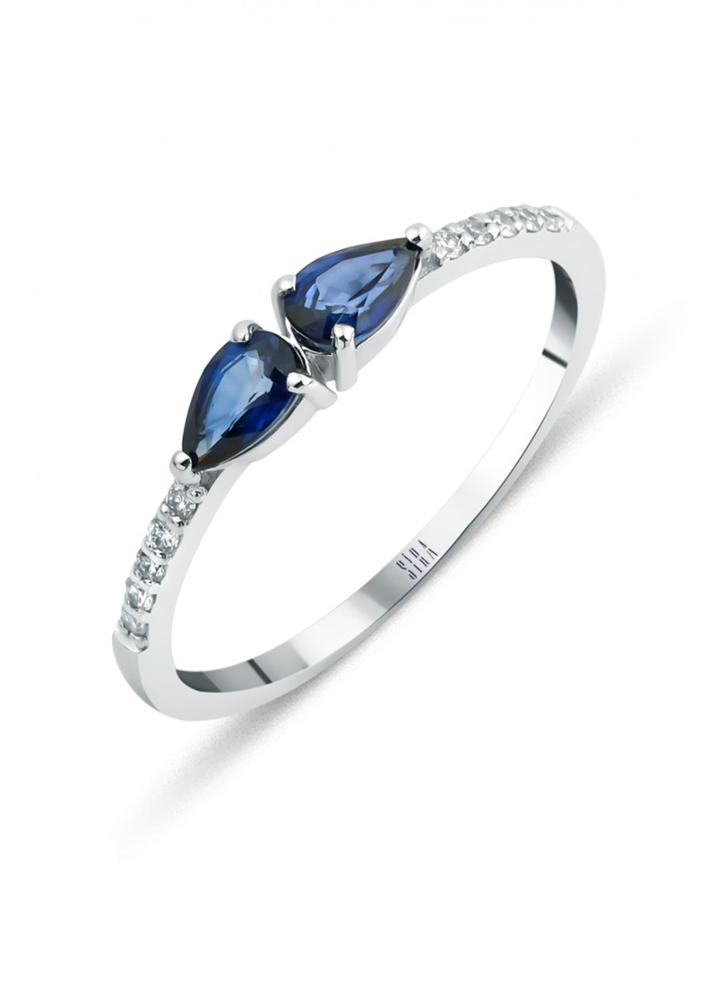 Double Drop Sapphire Ring - White Gold
