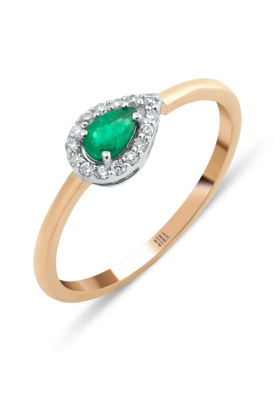 Emerald Ring - White and Rose Gold