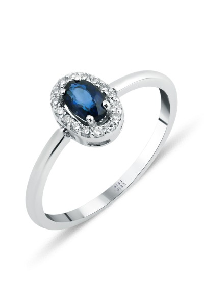 Sapphire Oval Ring - White Gold