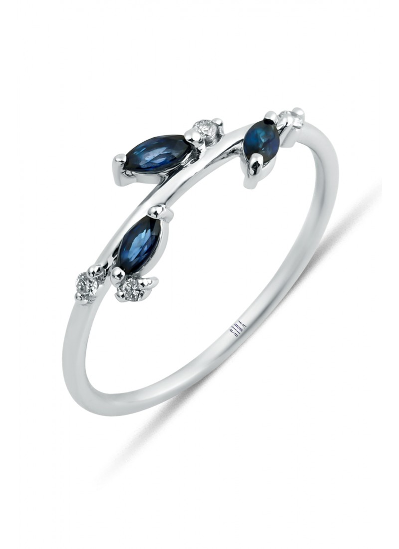Sapphire Marquise Ring - White Gold
