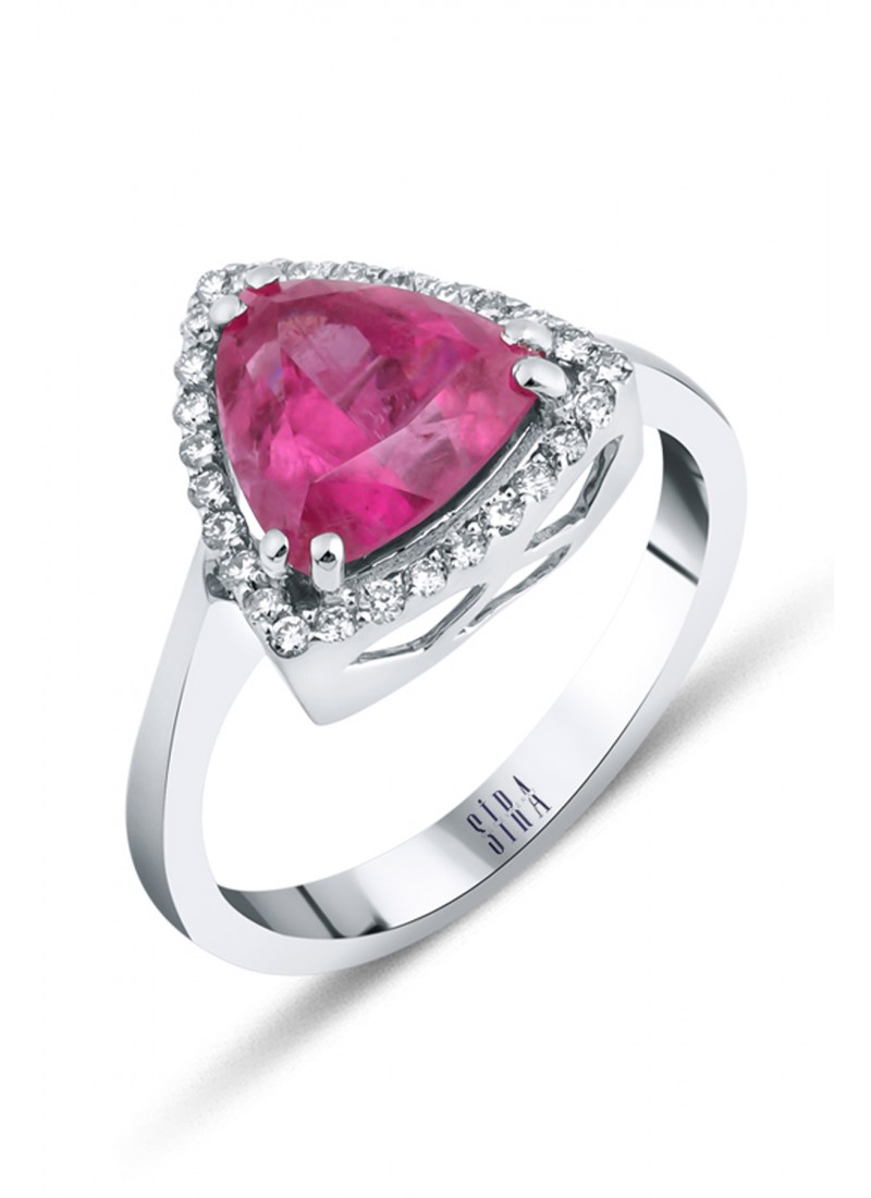 Pink Tourmaline Ring - White Gold