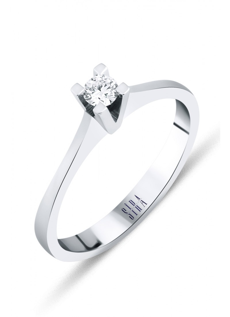 Solitaire Ring - White Gold