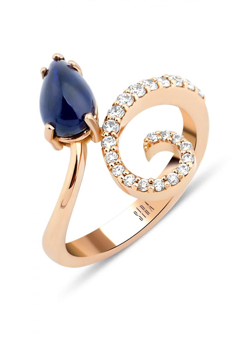 Sapphire Drop Ring - Rose