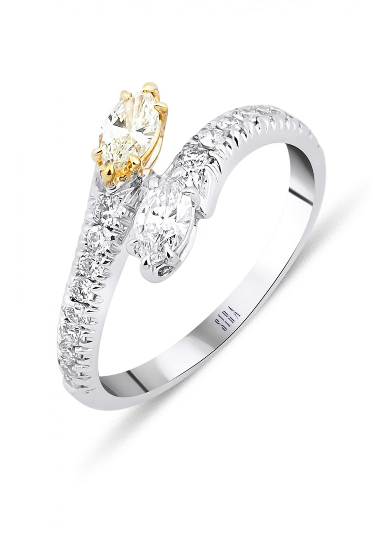 Double Marquise Ring - White Gold