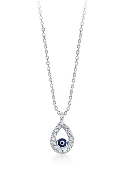 Evil Eye Necklace - White Gold