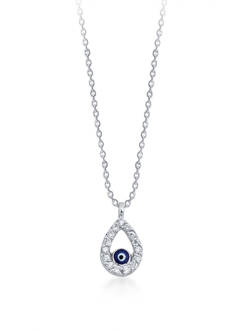 Evil Eye Necklace - White Gold