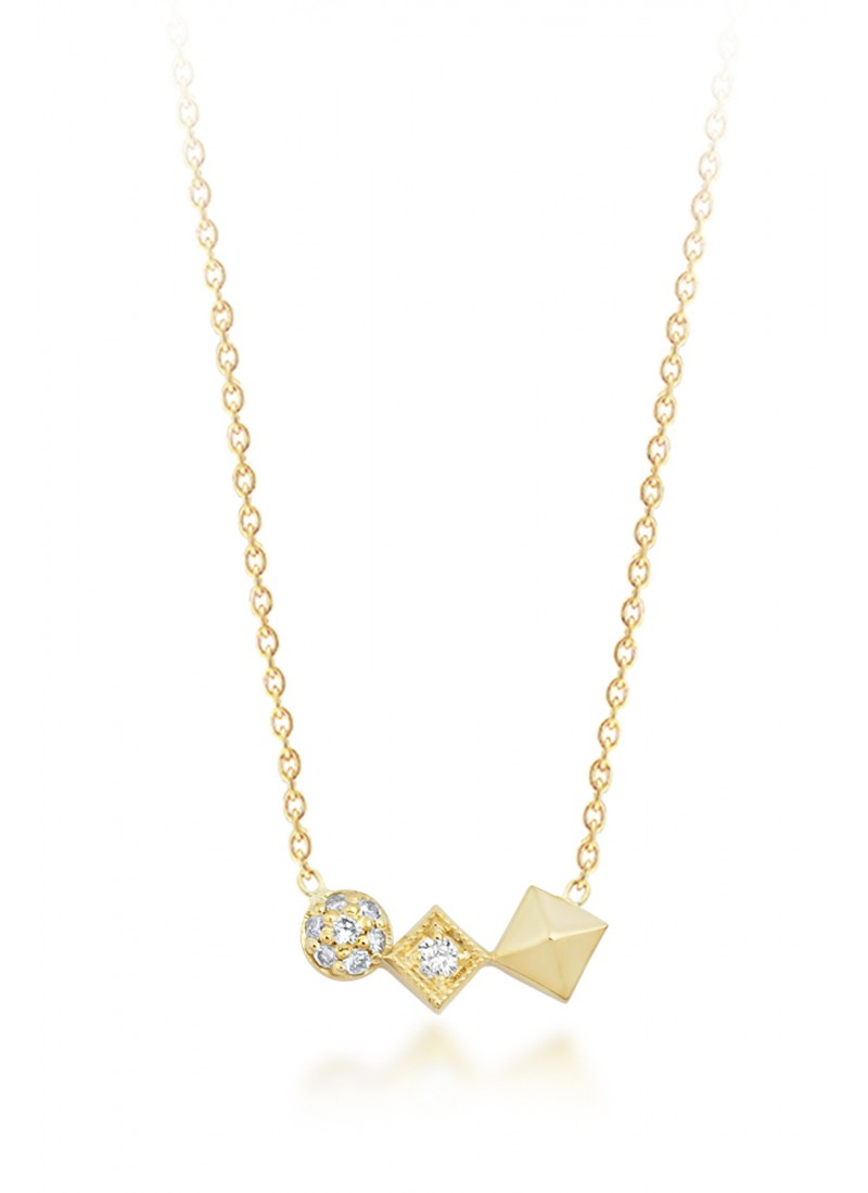 Cube Necklace - Yellow Gold