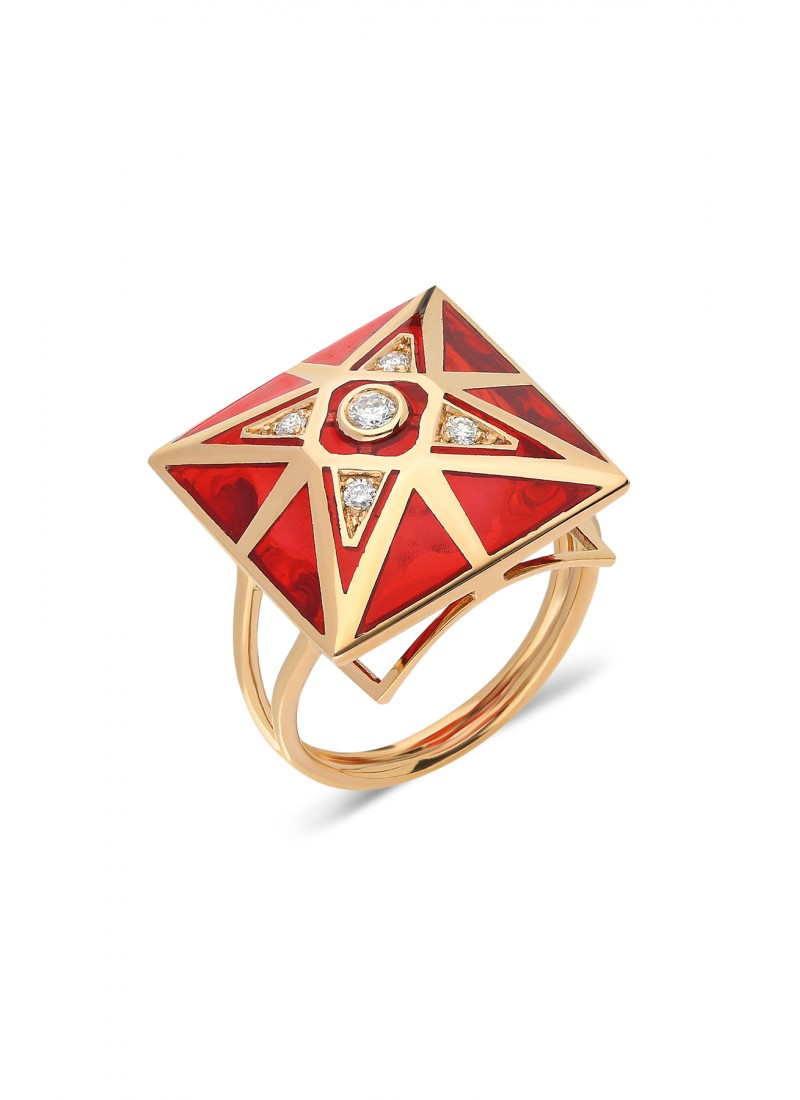 Pyramid Enameled Ring - Rose