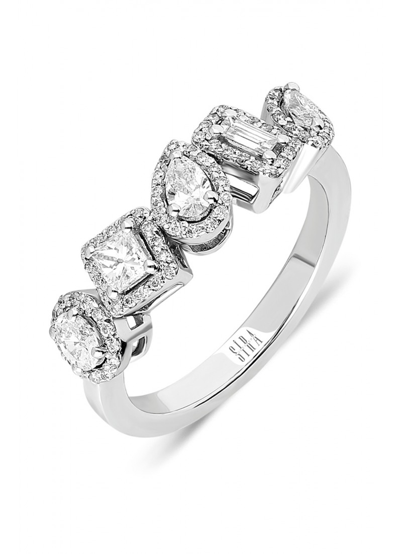 Asymmetric 5 Stone Wedding Ring - White Gold