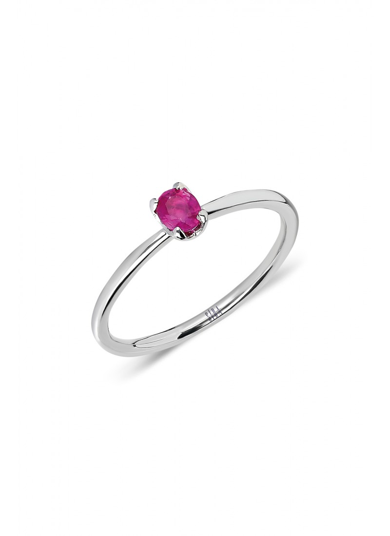 Oval Ruby Single Stone Ring - White Gold