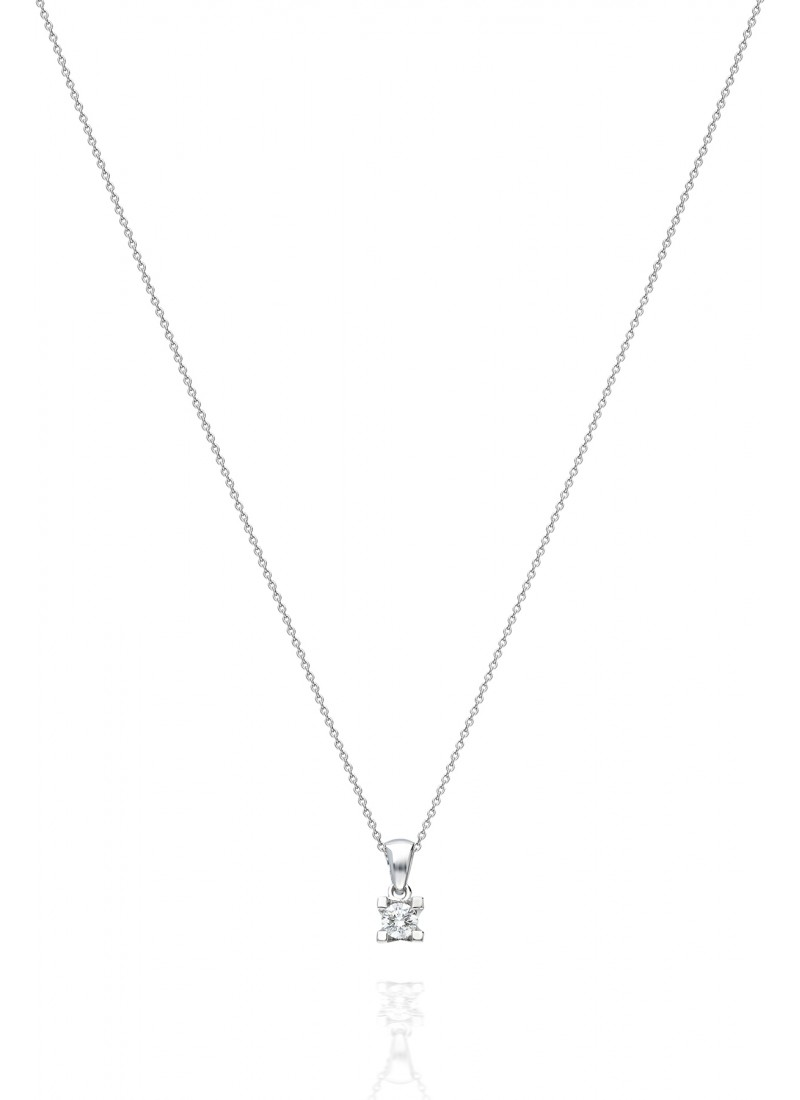 Solitaire Necklace - White Gold