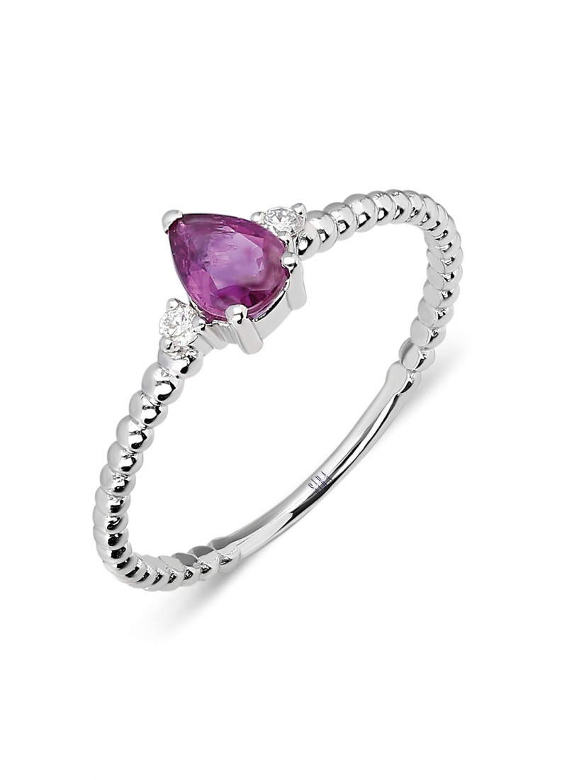 Drop Beads Ring - White Gold