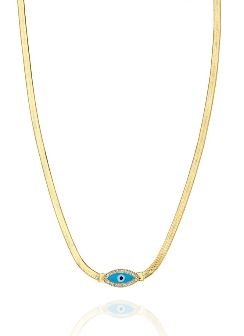 Italian Eye Necklace - Yellow Gold