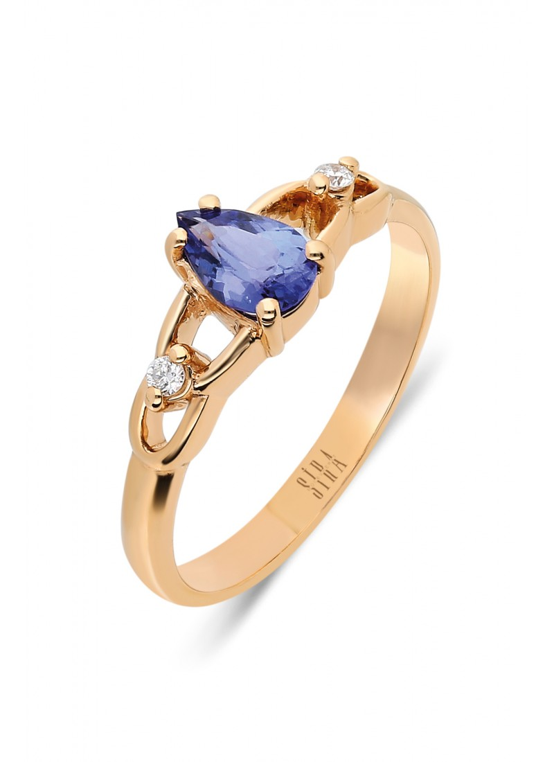 Tanzanite Drop Ring - Rose