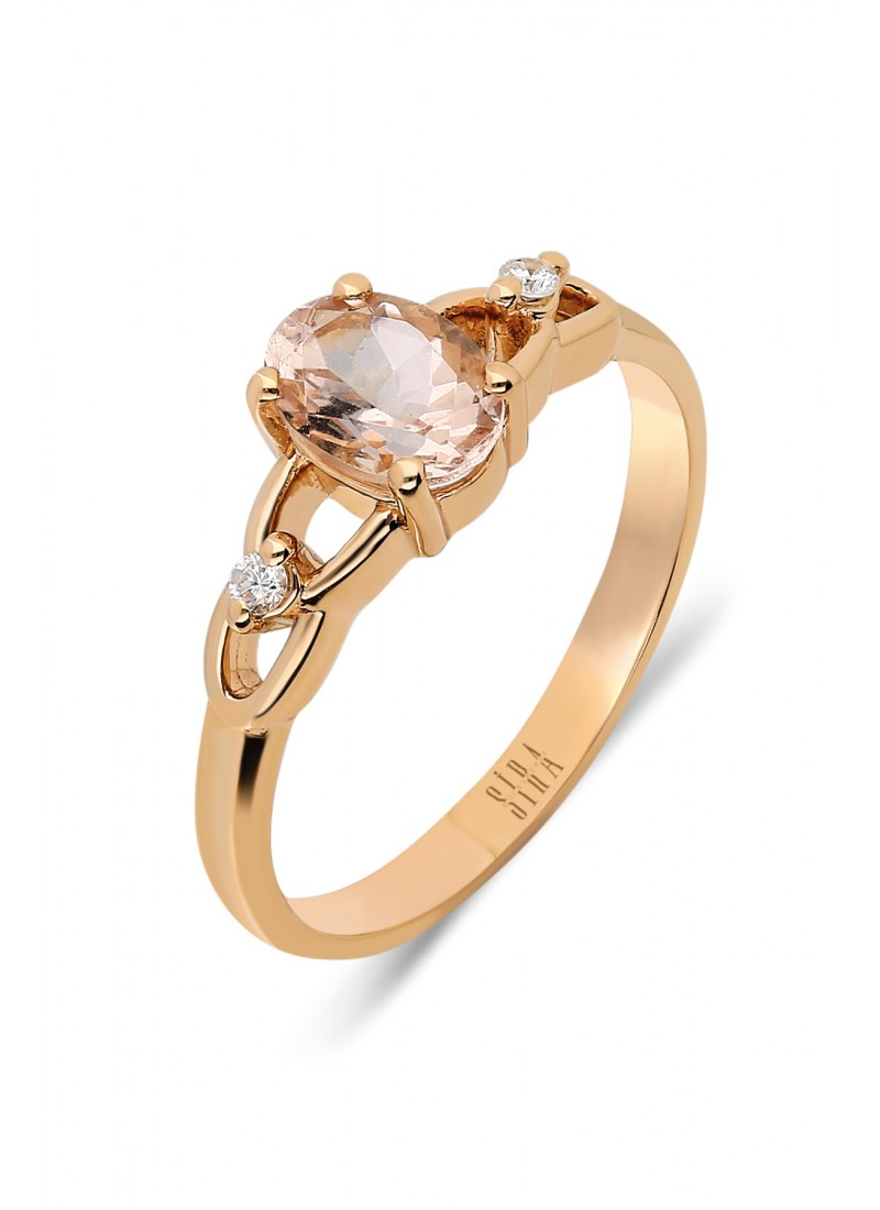 Oval Morganite Ring - Rose