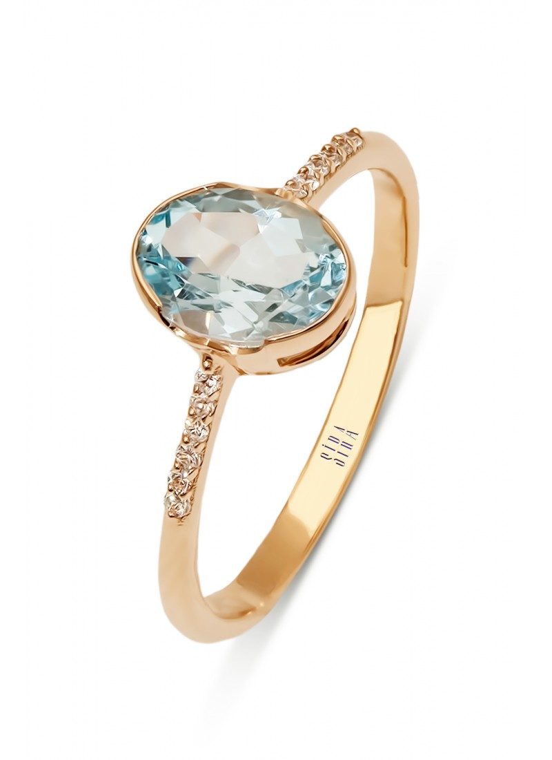 Blue Topaz Ring - Rose