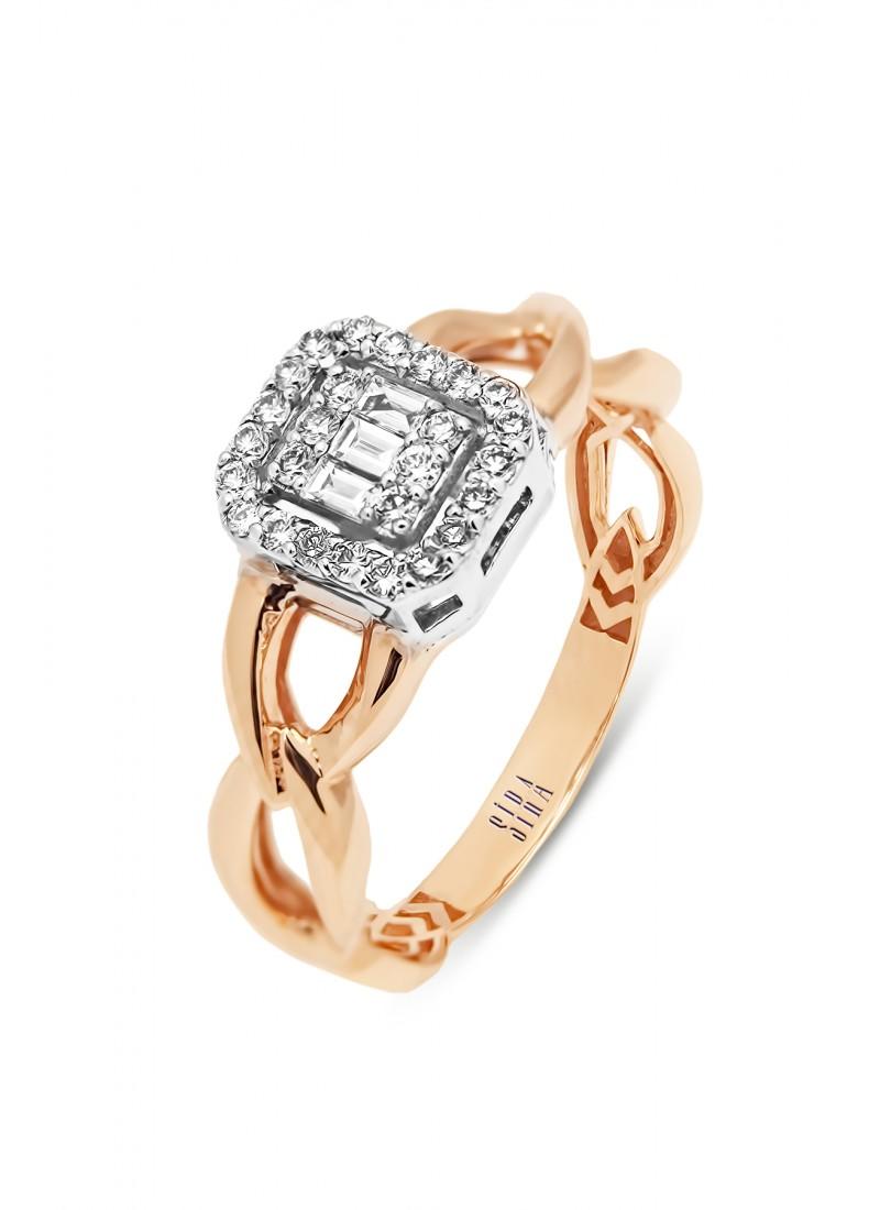 Rope Baguette Ring - Rose