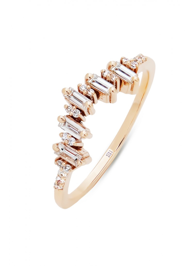 Crown Baguette Ring - Rose