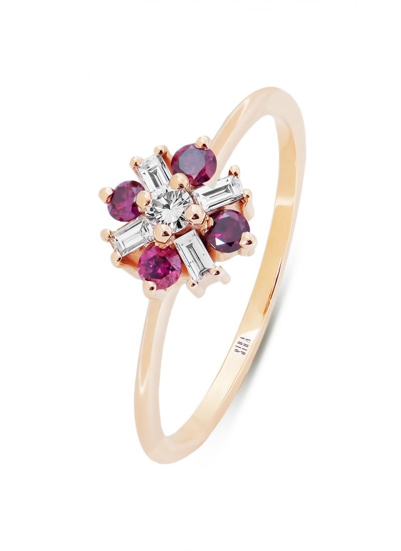 Pink Baguette Ring - Rose
