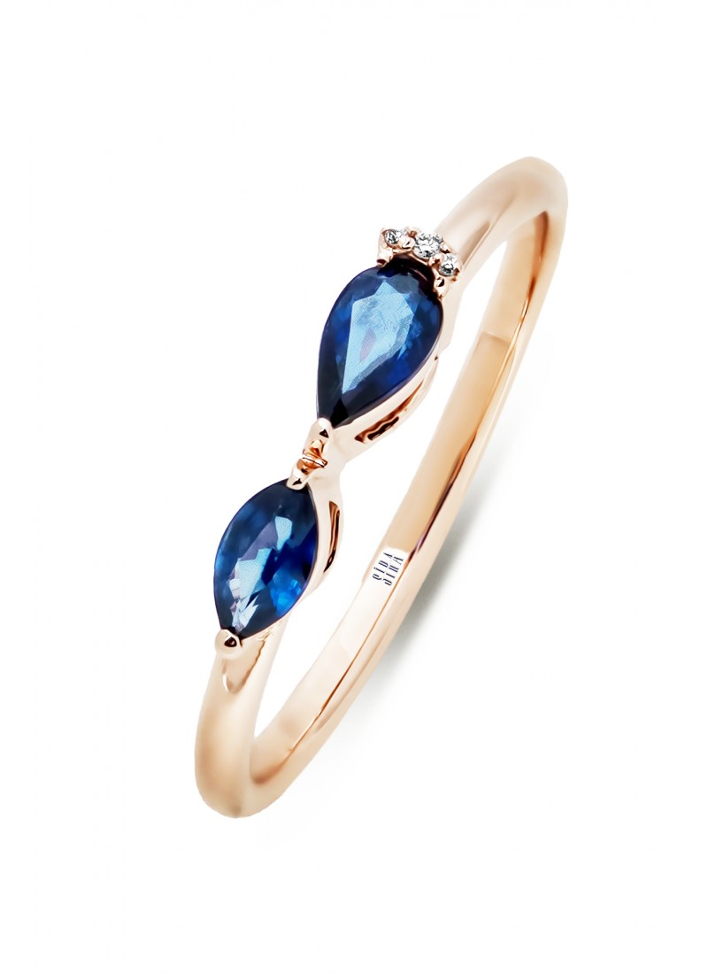 Double Sapphire Ring - Rose
