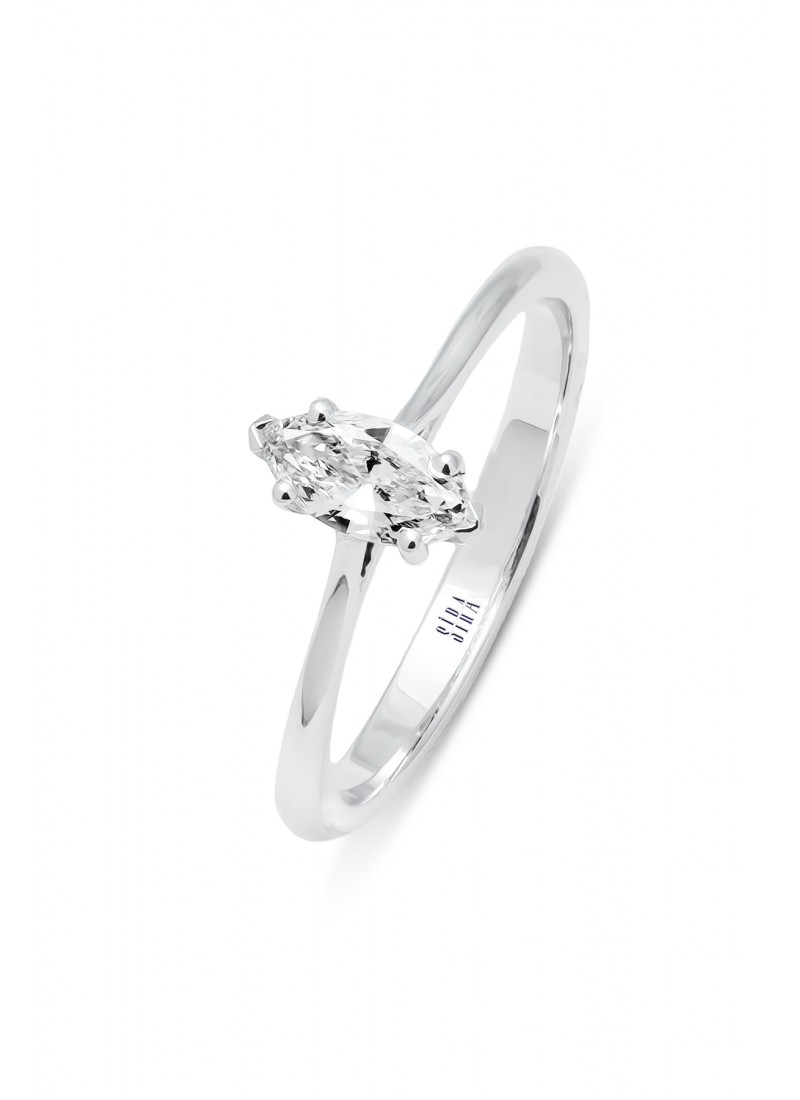 Solitaire Marquise Ring - White Gold