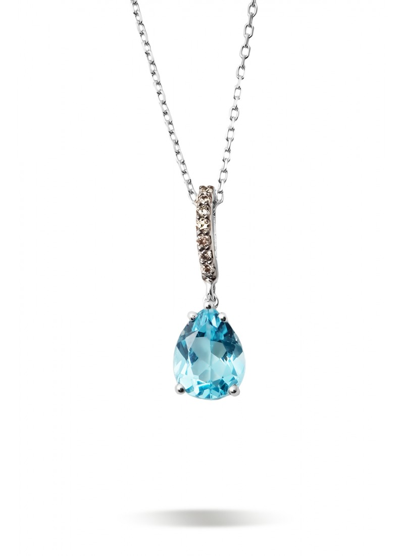 Blue Topaz Necklace - White Gold