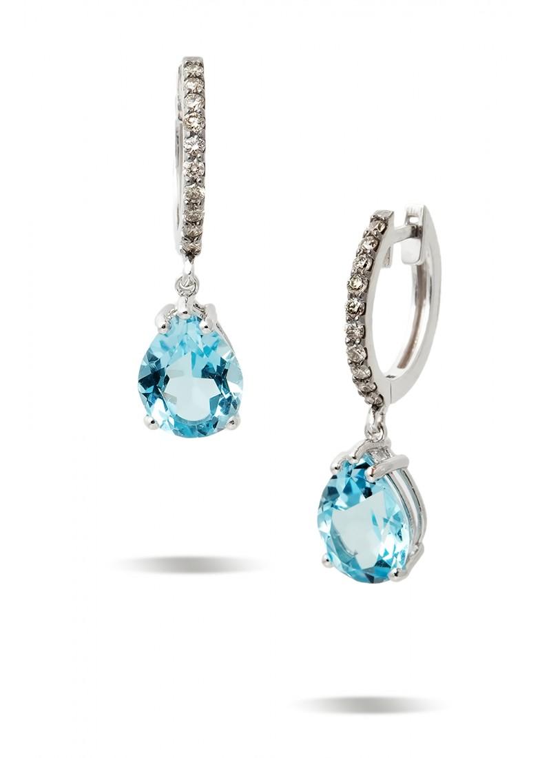 Blue Topaz Earrings - White Gold