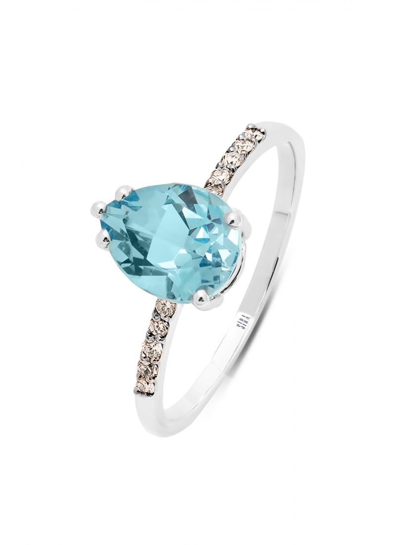 Blue Topaz Ring - White Gold