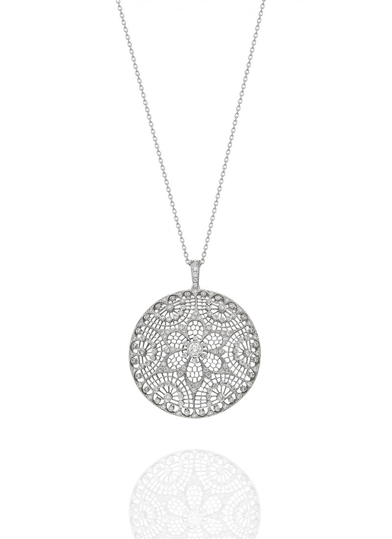 honeycomb necklace-white gold